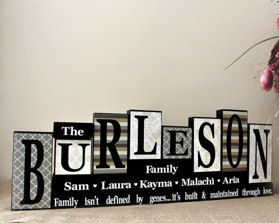 Personalized Family Name Letter Blocks - Family Celebrations - Custom Name Wooden Mantle Sign - Living Room Decor - 8 Letters Last Name Sign
