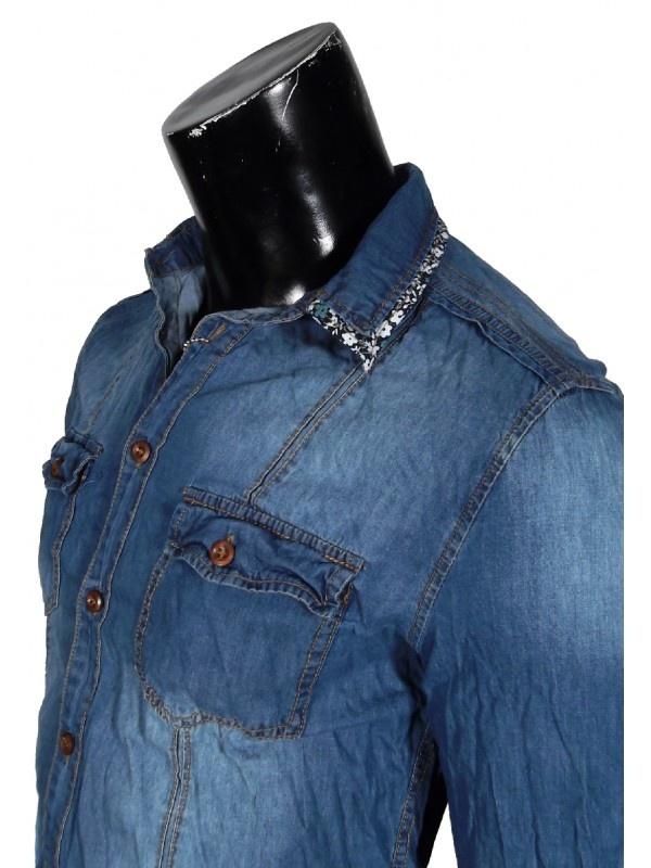 Camicia Uomo Jeans Manica Lunga con profili fantasia