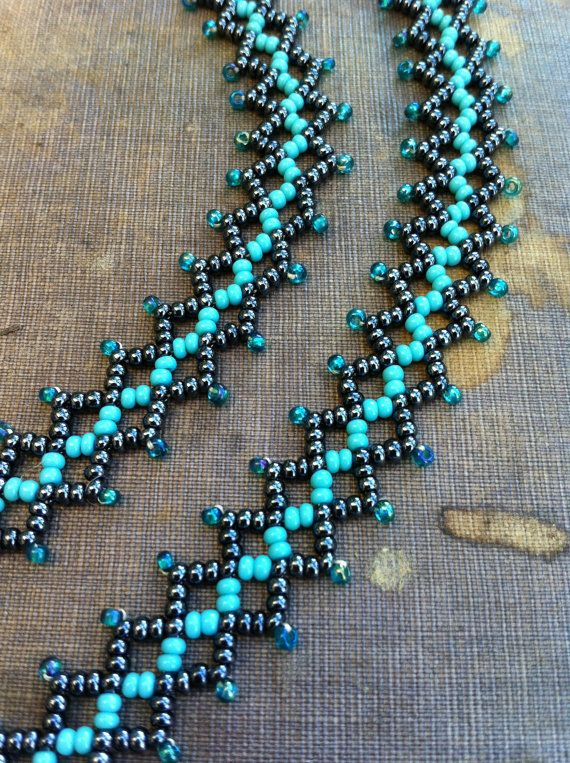 Bead Weave Necklace. Statement Seed Bead Necklace. Net Weave Stitch. Gunmetal,Turquoise and Teal. etsy/$64.45