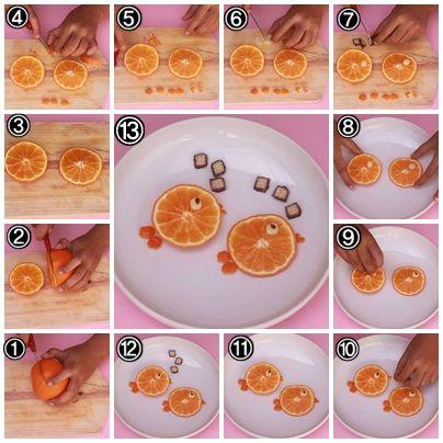 Cara Membuat Garnish Dari Buah Jeruk dan Apel (Ikan)