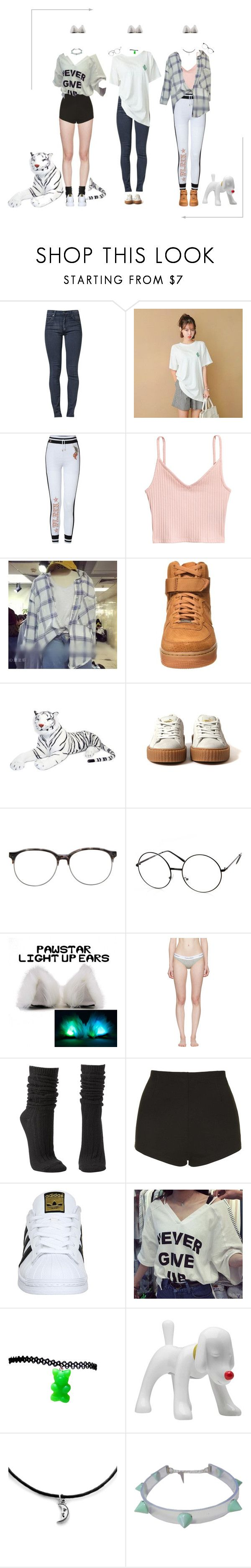 """""""[ Special Dance Practice ] Purrfectas """" Get Up """""""" by purrfectas ❤ liked on Polyvore featuring Cheap Monday, NIKE, Matthew Williamson, Calvin Klein Underwear, Charlotte Russe, Topshop, adidas and purroneyear"""
