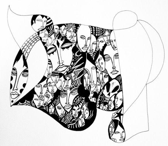 Pen and ink work in progress. John Michael Gill 2014.