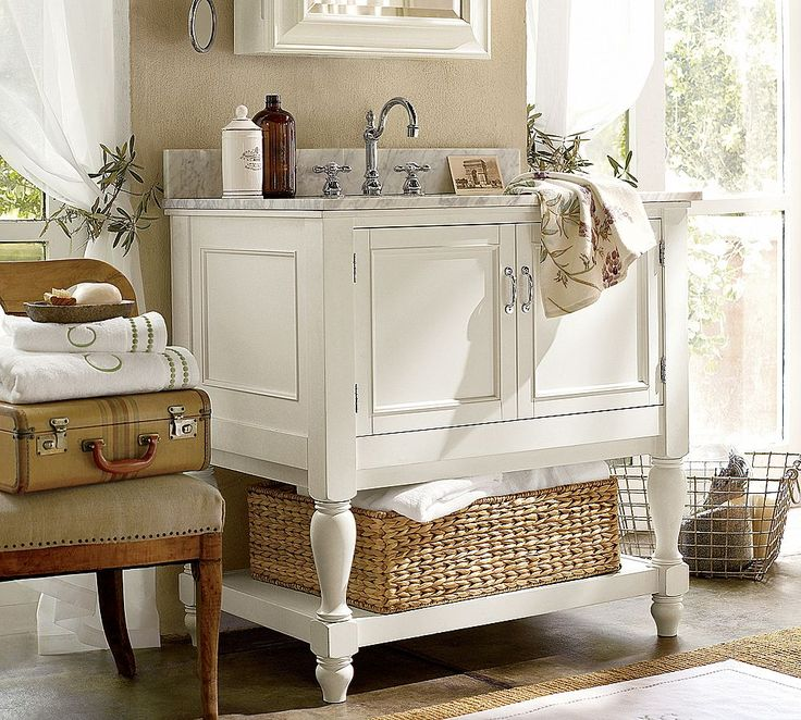 Shabby Chic Vanity Sink Design In White Color With Cabinet Also Mirrored Wall Storage And Classic Wooden Chair Perfect For Decorating A Small Bathrooms