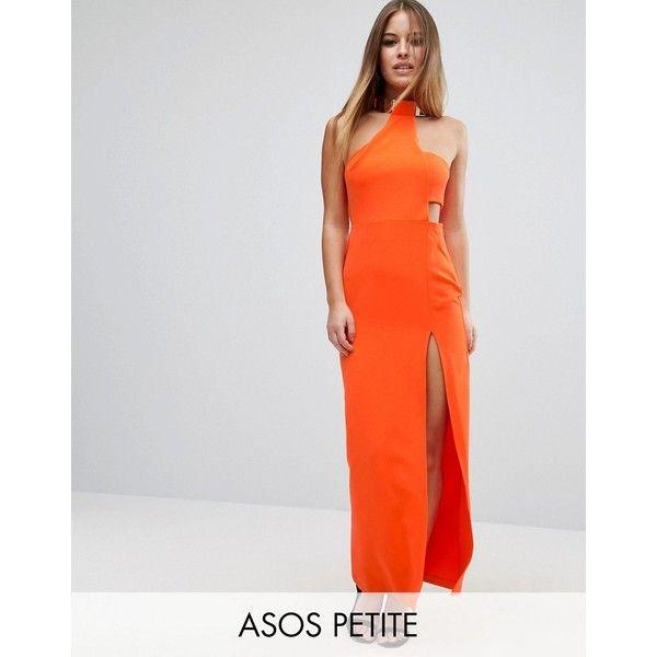 ASOS PETITE Gold Bar Halter Maxi Dress ($88) ❤ liked on Polyvore featuring dresses, petite, orange, maxi dresses, orange maxi dress, petite length maxi dresses, petite cocktail dress and gold dress