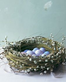 DIY Pussy Willow Nest by Martha Stewart.  Cute for Easter!