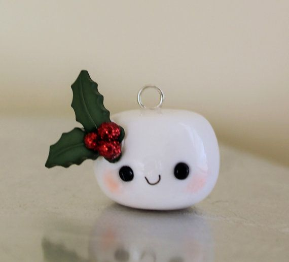 Holiday Marshmallow charms, polymer clay, cute marshmallow, kawaii marshmallow,food charm,mistletoe, holly,christmas marshmallow, ornament