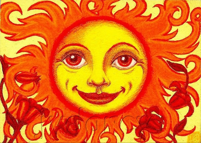 Mother Sun 5 x 7 Digital Print of Original Colored Pencil Drawing. $12.00, via Etsy.