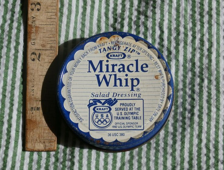 Vintage Kraft Miracle Whip Small Metal Jar Lid, 1992 Olympic Sponsor Mayonnaise Blue White Advertising, Ephemera, Collectible, Craft Supply by MendozamVintage on Etsy