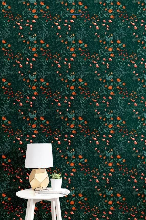 Green Floral Peel And Stick Wallpaper Tile Self Adhesive Wallpaper Flowers Accent Wall Contact Paper Peel And Stick Wallpaper Self Adhesive Wallpaper Wallpaper