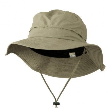 Big Size Inner Side Mesh Talson UV Bucket Hat Two sizes available; XL/2XL and 2XL/3XL. Crown measures 3 1/2 inches deep, terry sweat band, inner side mesh and chin string cord. Brim measures 3 1/4 inches wide, flat and downturn. Soft, thin and cool material. Hand washable.