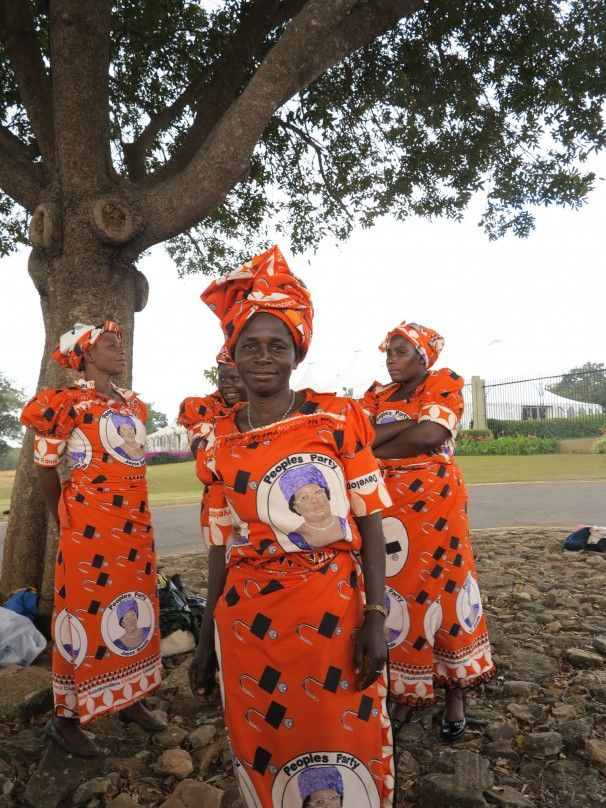 Fabric in dresses honor Joyce Banda, new president of Malawi, July 2012