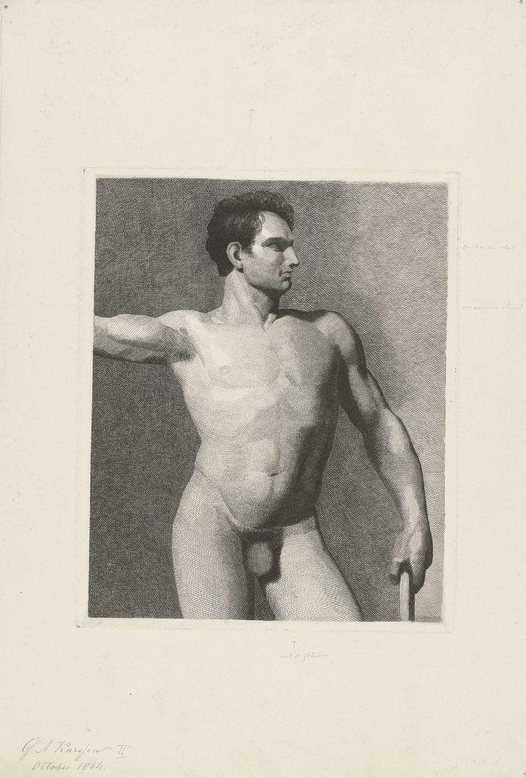 G.A. Karsen | Mannelijke torso, G.A. Karsen, 1864 | Torso van een mannelijk naakt met een stok in zijn linkerhand: de torso van voren gezien en het gezicht in profiel naar rechts.