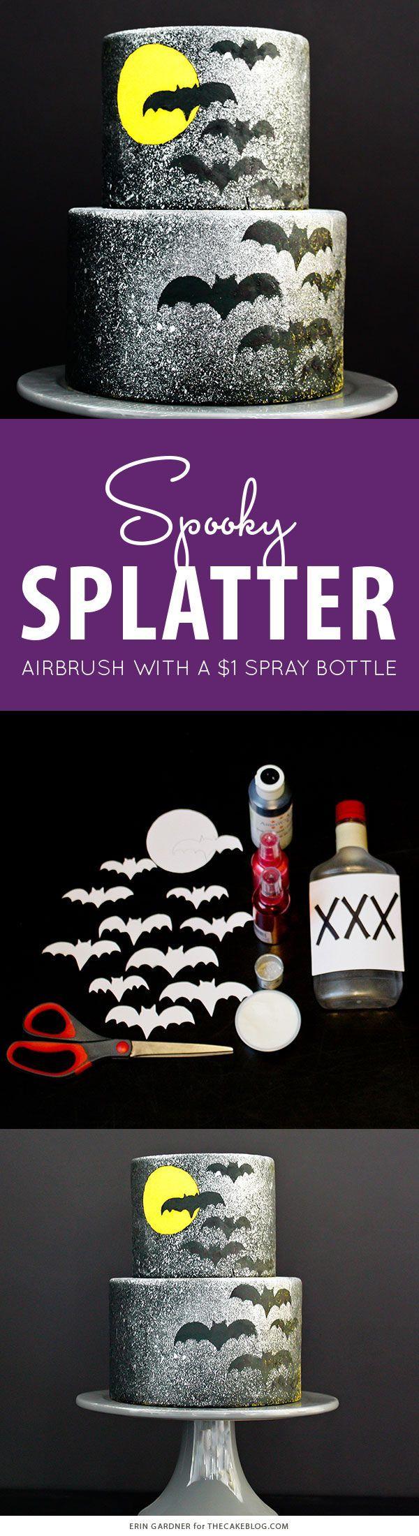 Spooky Splatter Halloween Cake - how to airbrush with a $1 spray bottle  |  Erin Gardner for TheCakeBlog.com