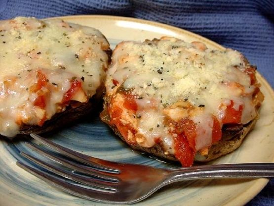 Baked Portabella Mushrooms Stuffed with Chicken   – food