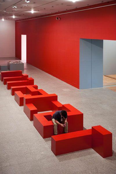Projetos de Sinalização super interessantes... typography  becomes furniture