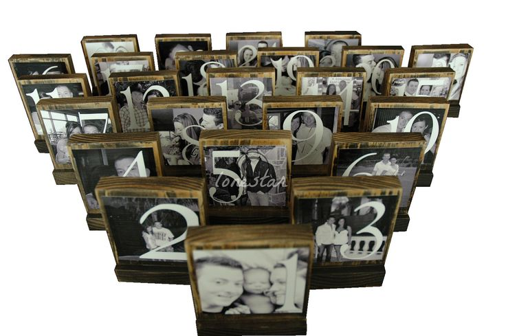 TABLE NUMBER FRAMES - Custom Table Numbers-Centerpieces-Place Cards  Photo Blocks by lonestaraccessories on Etsy https://www.etsy.com/listing/128781917/table-number-frames-custom-table-numbers