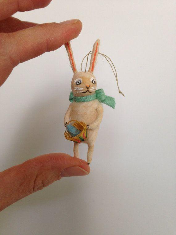 Spun Cotton ornament Miniature Bunny with basket by Maria Paula