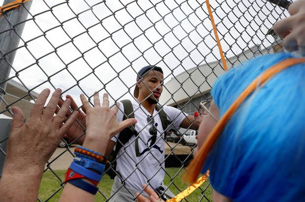 Oklahoma City's Andre Roberson (21) greets fans at Will Rogers Airport in Oklahoma City, Tuesday, May 31, 2016. Photo by Sarah Phipps, The Oklahoman