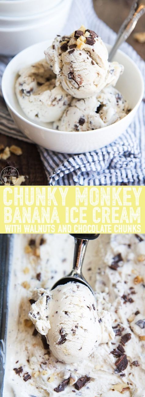 Homemade Chunky Monkey Ice Cream ist ein cremiges Bananeneis voller gehackter …   – Recipes