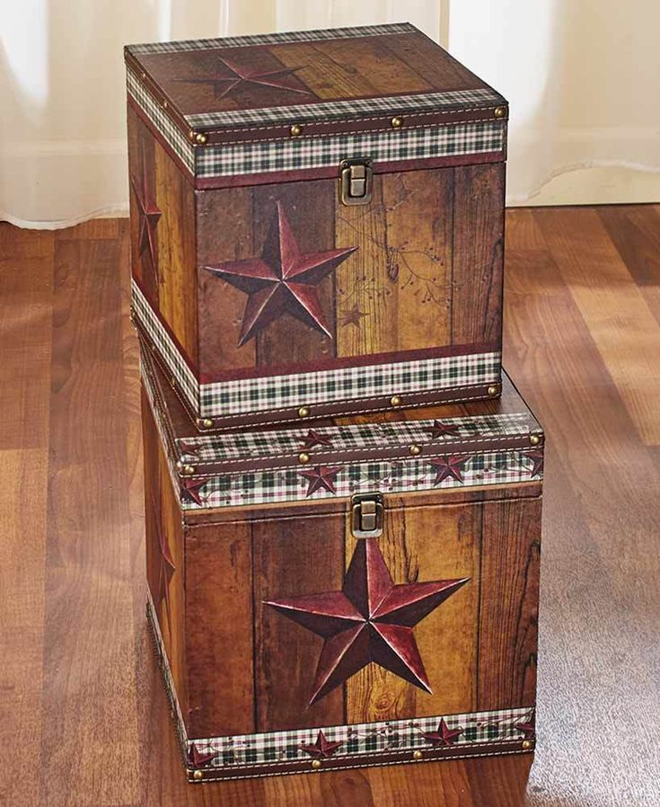 COUNTRY SET OF 2 DECORATIVE STORAGE TRUNKS PRIMITIVE STAR RUSTIC HOME DECOR #AFoYFT
