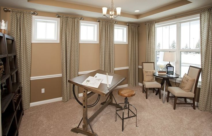 Transitional Home Office with Carpet, Pendant light, High ceiling, Studio Designs Vintage Drafting Table - Rustic Oak