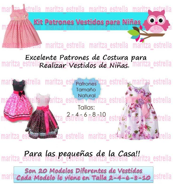 Patrones De Vestidos Para Niñas Todas Las Tallas Moldes Bebe - Bs. 399,00 en Mercado Libre