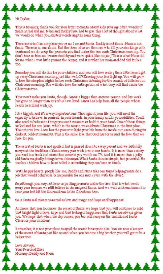 This is my favorite of all the letters about if Santa is real. I think Kara will be getting one like this soon. She is asking too many questions. :(: