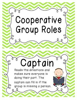 BRIGHT CHEVRON COOPERATIVE GROUP ROLES- POSTERS AND STUDENT TAGS - TeachersPayTeachers.com