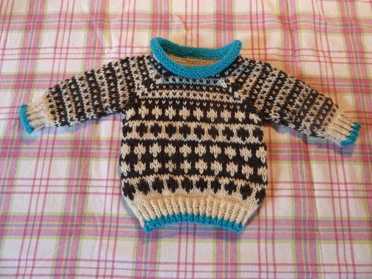 Baby sweater i str 50, - i merinould og rheuma garn.