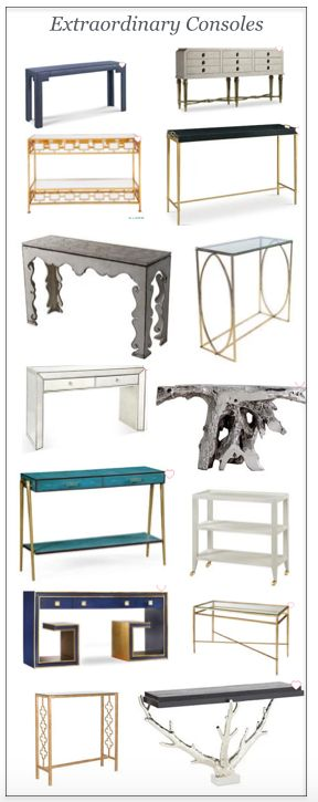 I use console tables as desks, behind sofas, in hallways, as a dressing table…