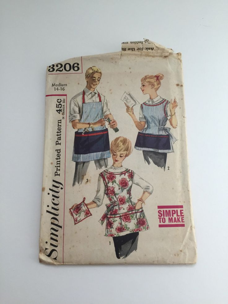 Simplicity Pattern 3206 Misses' and Men's Apron and Pot Holder Vintage 1960's by waxwendy on Etsy https://www.etsy.com/listing/247148868/simplicity-pattern-3206-misses-and-mens
