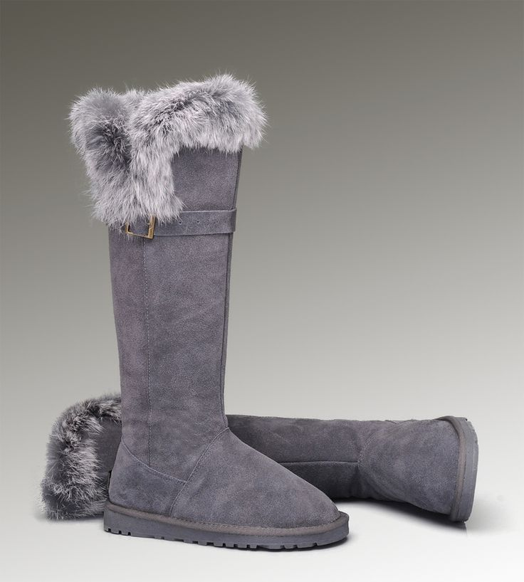 UGG Tall Fox Fur 1852 Grey Boots