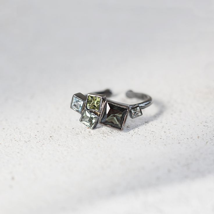 Silver cluster ring with tourmaline by ResDepot