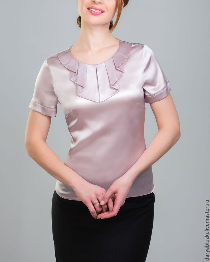"""Купить Блузка из шелка """"Чайная роза"""" - бледно-розовый, однотонный, офисная мода, блузка в офис"""