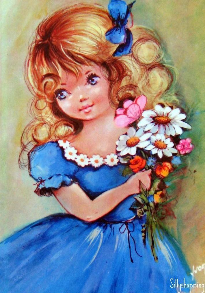 Девочка с цветами картинки рисованные, старым