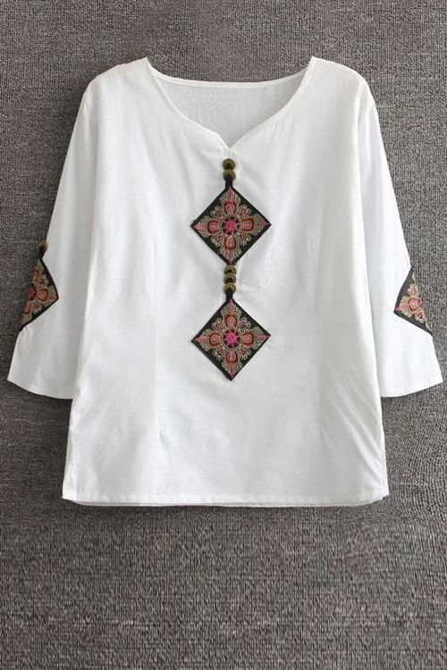 White Ethnic T-Shirt