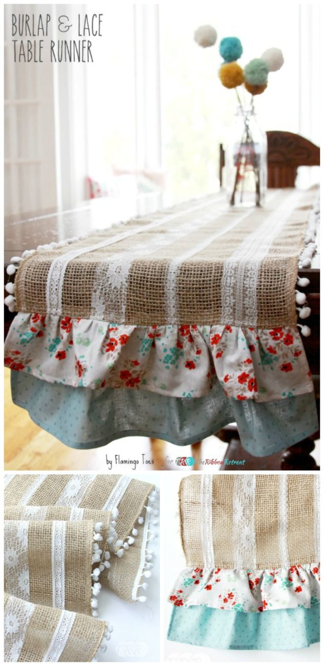 Easy Burlap and Lace Table Runner - The Ribbon Retreat Blog