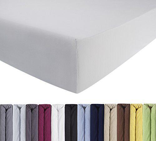 ENTSPANNO Jersey-Luxus-Spannbettlaken f�r Wasser- und Boxspringbett in Wei� aus gek�mmter Baumwolle. Spannbetttuch mit Einlaufschutz, 180 x 200 | 200 x 200 | 200 x 220 cm, bis 40 cm hohe Matratzen