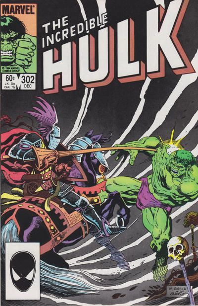 Hulk vs. a knight on the cover of THE INCREDIBLE HULK #302 (Dec. 1984)