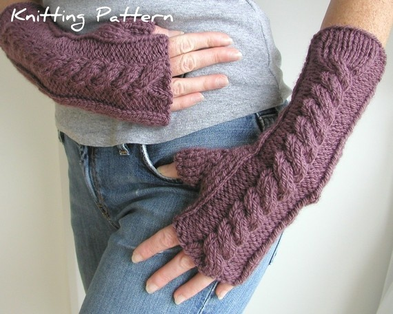 Knitting With Hands And Arms : Hand and arm warmer fingerless gloves knitting pattern