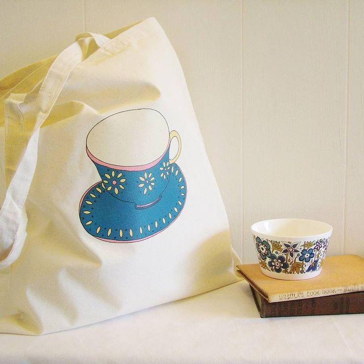 SALE Custom Scandinavian Teacup Canvas Bag