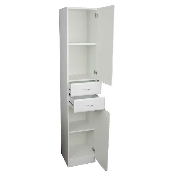 Jasmine Tallboy Cabinet    Jasmine Tallboy Cabinet is a stylish floor standing cabinet with 2 doors and 2 draws, and is ideal for any modern bathroom.    Cupboard contains one shelf, click on picture two for a detailed look inside.    Was £219.99  Now £157.99