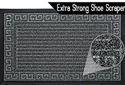 Quality Entrance Rug Door Mat Super Effective Shoe Scraper Fabric Elegant Design Indoor And Outdoor Doormat Super Grip Rubber Backing Color Grey Size 17.5″ X 29″