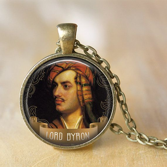 LORD BYRON Necklace quote Art Portrait by LiteraryArtPrints