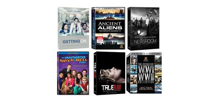 Ancient Aliens Season 1-6 Giftset, World War's Collector's Set, The Unauthorized Saved By The Bell Story, Getting On: The First Season, The Newsroom: The Complete Second Season, True Blood: The Complete Seventh Season sweepstakes