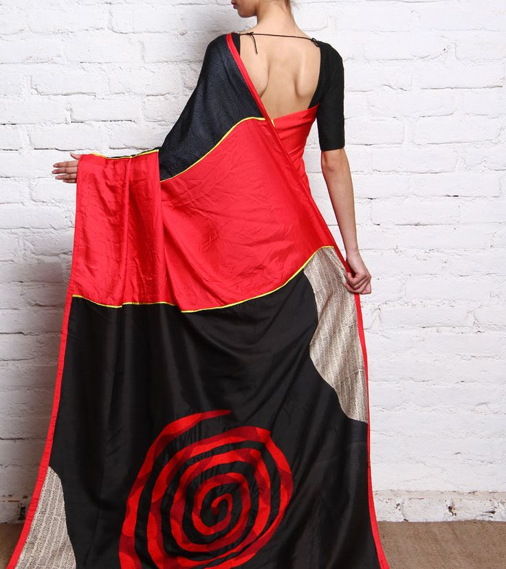 Red, Black & Beige Katan & Twill Silk Saree #ParamparikSarees #Shades #Rajouri Garden #6YardsSarees
