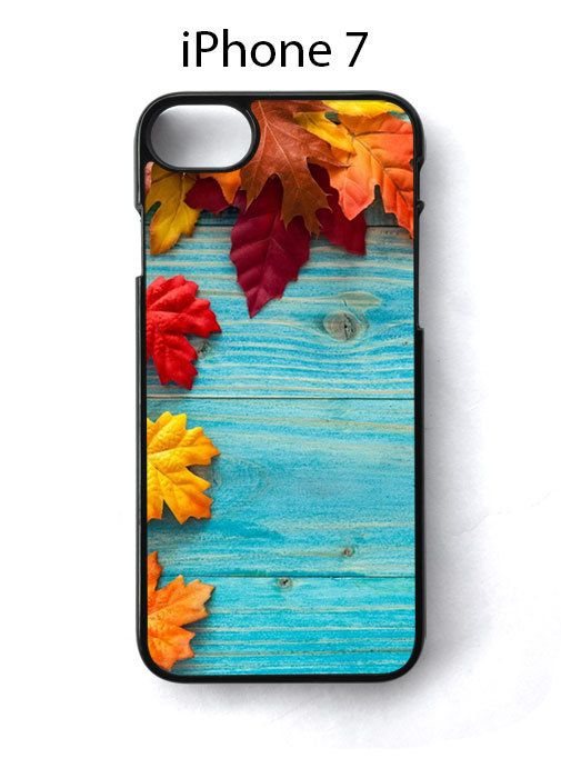 Autumn Leaves On Cyan Wood iPhone 7 Case Cover - Cases, Covers & Skins