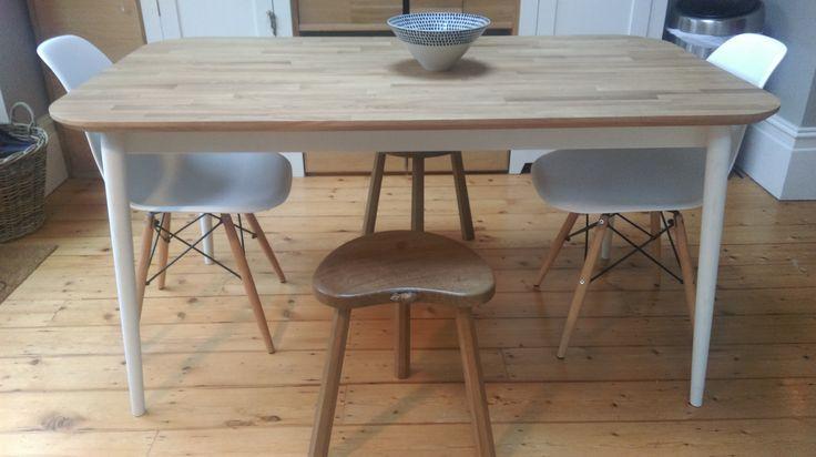 Hand made kitchen oak stools Mouseman furniture.
