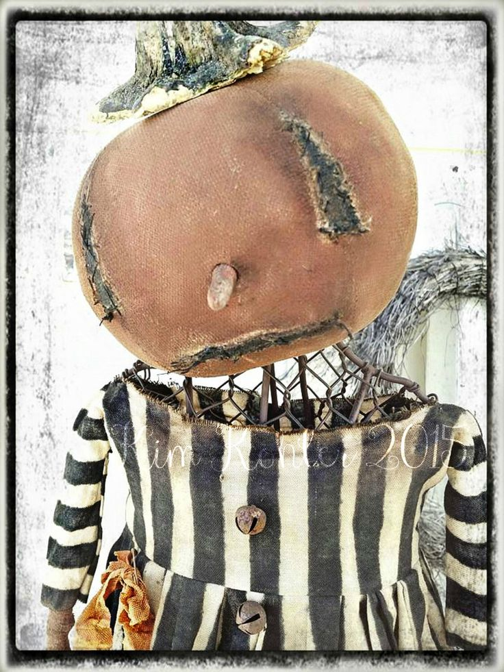 Primitive Pumpkin Doll Mannequin Industrial Metal Stands Dirty Stripes Hand Made Fabric Cloth ooak Halloween Vintage Veenas Mercantile by VeenasMercantile on Etsy https://www.etsy.com/listing/238656704/primitive-pumpkin-doll-mannequin
