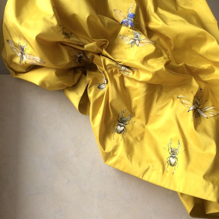 Silk Skirt handpainted beetles pattern available